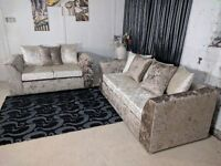**UP TO 1 YEAR WARRANTY!!** Julie Crushed Velvet Corner Suite or 3 and 2 Set - QUICK DELIVERY!