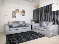 JULIE CRUSH VELVET BROWN/MINK 3+2 or CORNER SOFA WITH UK EXPRESS DELIVERY!!!