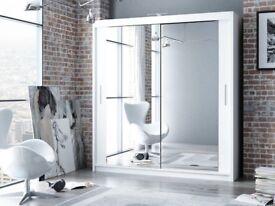 🔥🔥BEST PRICE GUARANTEED🔥🔥Brand New Berlin 2 Mirror Doors Sliding Wardrobe in 5 DIFFERENT colors