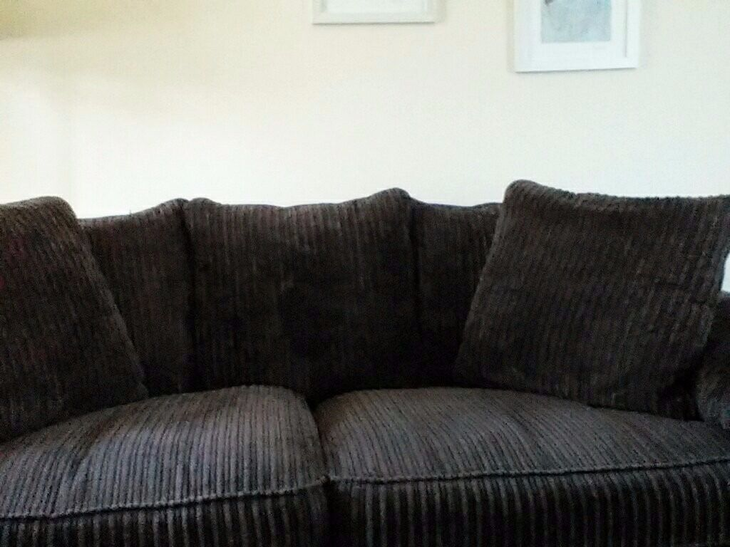 Settee Very Comfy Three Seater Brown Corduroy Type Fabric