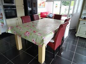 Immaculate Dining/Pool Table with 5 chairs, cues and balls