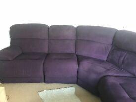 L shape corner purple sofa