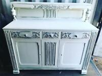 White/ silver shabby chic cocktail cabinet/ sideboard / Dresser