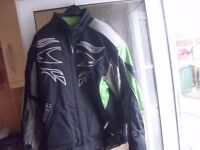 CHEAP BIKER GEAR JACKET FULLY ARMOURED, LEATHER TROUSERS, BOOTS AND 2 HELMETS