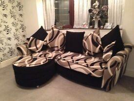 Corner sofa black beige and cream