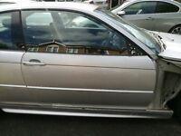 BMW 3 SERIES E46 COUPE CONVERTIBLE DRIVERS SIDE DOOR inc GLASS WINDOW HANDLE REGULATOR TITAN SILVER