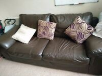 3 and 2 leather sofa set, used but fairly good condition