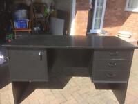 Black wooden desk