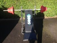 York Folding Weights Bench (Inclines) with barbell and steel weights