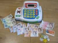 BRILLIANT PRETEND CASH REGISTER - including pretend money, credit card and baskets! FABULOUS BUNDLE