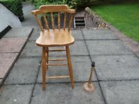 Pine Bar stool and thistle lamp