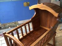 A magical rocking cradle handmade in solid hardwood - suitable for newborns up 6 months