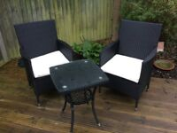 Black rattan 2 chairs plus table