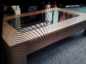 Coffee Table; teak effect low level with dark glass centre