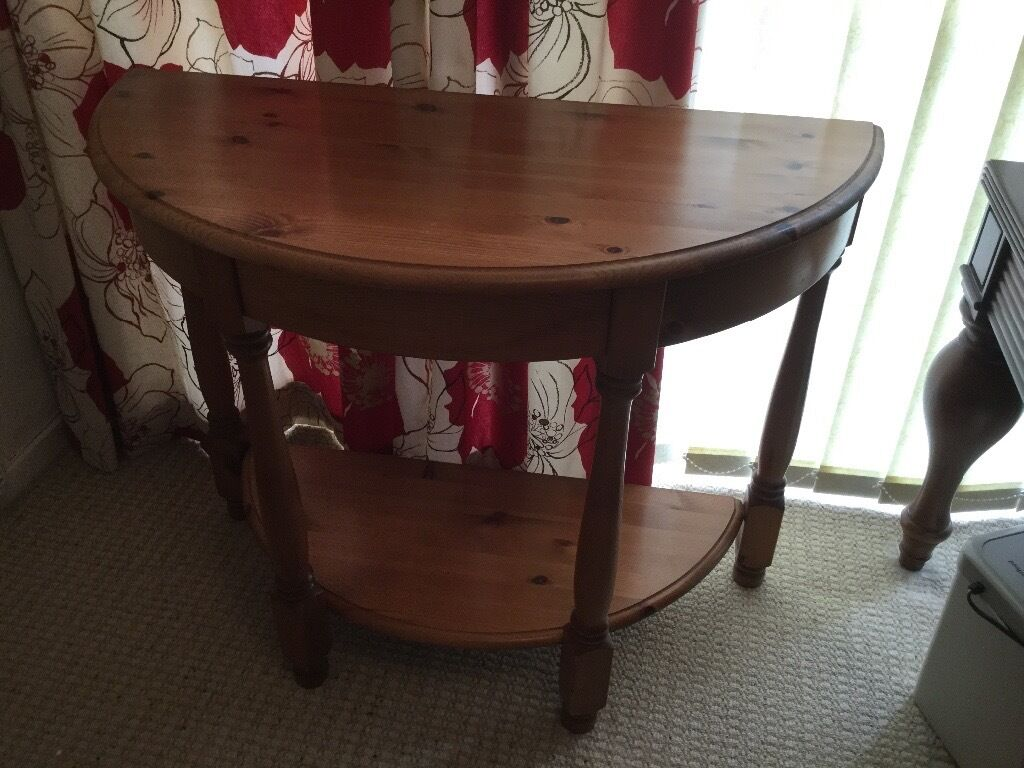 great hallway semi circle wooden table stand in emersons gre