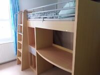 High sleeper cabin bed with storage and desk