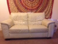 ***FREE*** CREAM 2 SEATER LEATHER SOFA