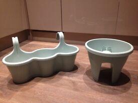 Pair of Elho mint green balcony pots