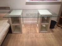 Large white desk with glass top