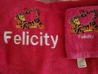 Personalised towels/flannels