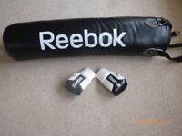 REEBOK COMBAT 4FT PU BOXING / MARTIAL ARTS PUNCH BAG AND MITTS