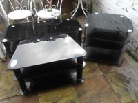 1 stereo stand 2 tv stands all matching