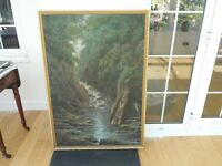 Large Oil Painting - Fishman on a mountain stream