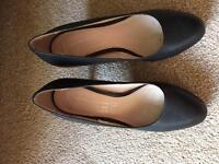 Ladies next leather black shoes size 4.5 uk