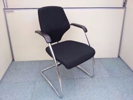 4 - ORANGE BOX GIROFLEX - G64 VISITOR CHAIRS - BLACK+CHROME WE CAN DELIVER - 5 YR GUARANTEE