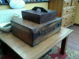 ANTIQUE BOXES. X 2 LARGE IS A SILK SCREEN PRINTER, SMALL A SHOE SHINE BOX £50 & £30 NO TEXTS