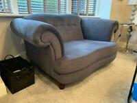 Dark grey chenille velvet 2 seater sofa