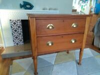 Chest of drawers (two drawer, solid wood, original)