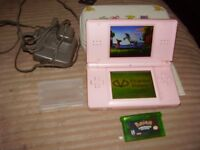 nintendo ds lite with pokemon game