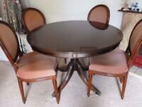 Reproduction Round Dining Table and 4 Louis Style Chairs