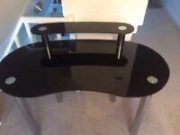Computer desk, black glass and chrome, excellent condition