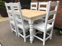 REDUCED - Amazing Shabby Chic Farmhouse Pine Table and 6 Lovely Chairs