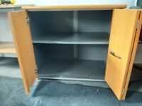 Cherry Bow Fronted Desk Height 1 Shelf sliding Door Storage Cupboard