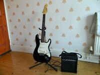 Encore Black Electric Guitar and Amp Package +++++ EXTRAS