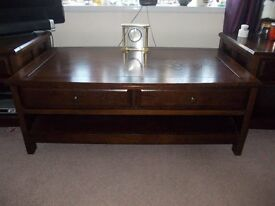 Solid Oak (dark) Coffee Table & 2 Side / End Tables. *** REDUCED TO £180 ***