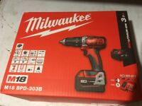 Milwaukee Combi Drill M18 *Brand New* Incl 3 x batteries & charger