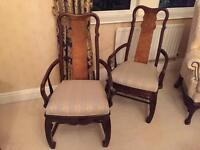 Ming style pair wooden carved chairs