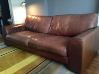 Dark brown soft leather sofa DFS
