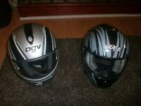 Two full motorbike helmets med and large