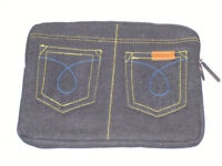 WHOLESALE JOBLOT 7 BLACK DENIM PADDED TABLET COVER SLEEVE CASE 10x8 POCKETS IPAD