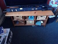Cream leather chair cabinet and tv/coffee table