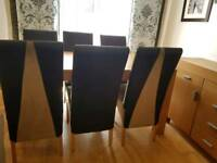 Oak dinning table 6 leather chairs and oak cabinet