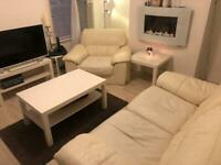 White Leather Double Sofa and Armchair