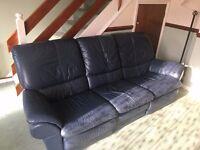 Blue Leather Recliner 3 piece Suite