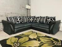Ex Display Black Leather and Grey Fabric 5 Seater Corner Sofa