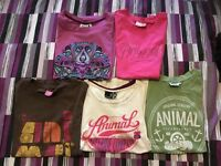 5 X LADIES SIZE 8 ANIMAL TSHIRTS.